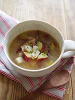 燻製バターのコク♪さつまいもとベーコンのスープ