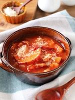 さつまいもとベーコンのトマトスープ