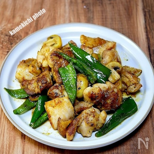 チキンのガーリック麺つゆ炒め