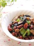 作り置きOK!金時豆入り具沢山!茄子と青梗菜とひき肉の炒め物