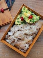 【15分弁当】豆苗のキッシュ風卵焼きと豚の甘酢しょうが和え