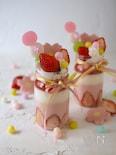ひな祭りに!苺ミルクゼリーパフェ【レンジ・混ぜるだけ・簡単】