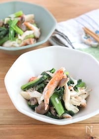 『レンジで簡単!小松菜とかにかまのねぎ塩サラダ』