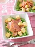 お麩とベーコンの水菜サラダ
