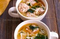 包丁不要!もやしたっぷり!もやし豚団子とわかめの旨味噌スープ