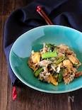 わさび菜(青菜)と豚肉のマヨポン炒め。