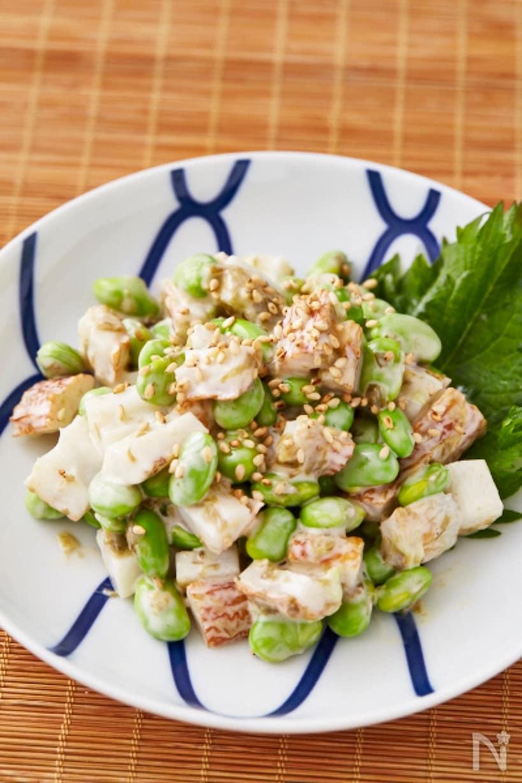 丸いお皿に盛られた枝豆と竹輪の海苔風味和え