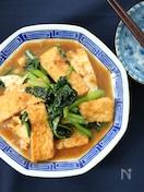 小松菜と厚揚げの甘辛味噌炒め