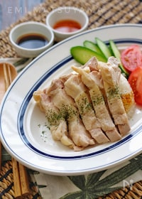 『簡単!しっとり!*塩茹で鶏で海南鶏飯*』