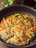 緑黄色野菜を美味しく食べたい♪ニラにんじんチヂミ