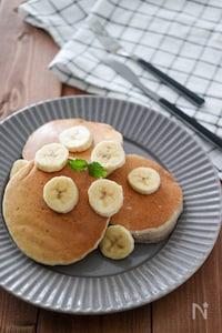 簡単バナナ米粉パンケーキ♪油・砂糖・卵・乳・小麦粉不使用