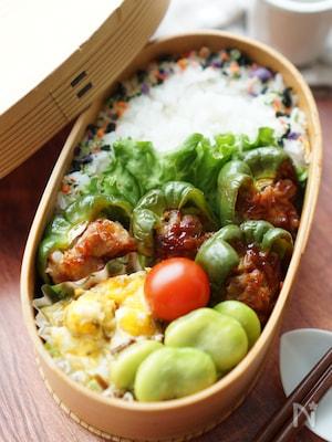 【15分弁当】豚こまピーマン肉詰め弁当