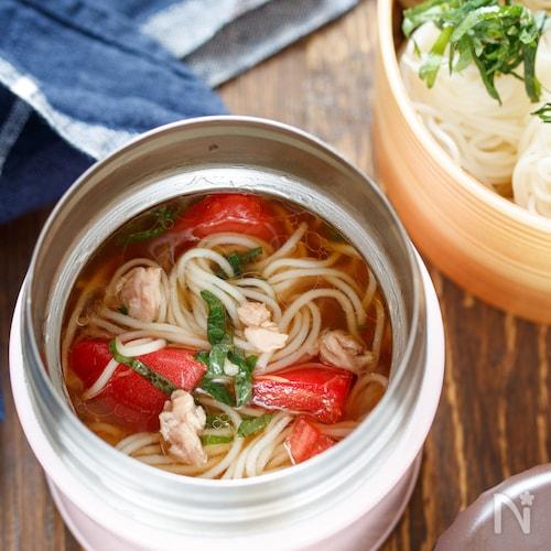 ツナとトマトの冷製そうめん【#簡単#節約#スープジャー】