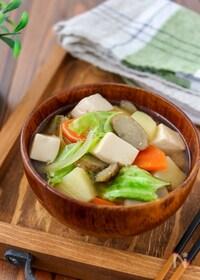 『春野菜と豆腐の具だくさん味噌汁』