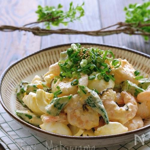オクラとむき海老とゆで卵の生姜塩昆布マヨサラダ