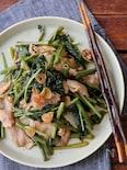 豚肉と空芯菜のニンニク炒め。