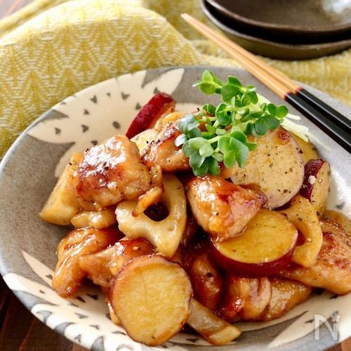 鶏肉とさつま芋と蓮根の黒胡椒甘酢炒め