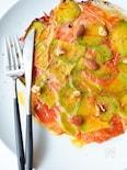 アボカド、ハム、チーズ、トマトのライスペーパー焼き