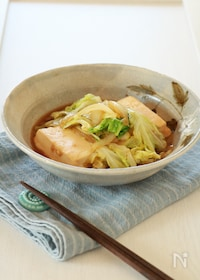 『蒸し焼きで時短☆豆腐とキャベツのすき焼き風』