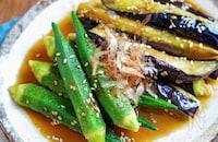 【茄子とオクラの胡麻つゆお浸し】夏に食べたいさっぱり副菜♬︎