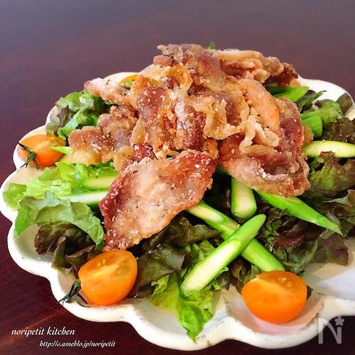 豚のパリッ♪と揚げ♡のっけサラダ