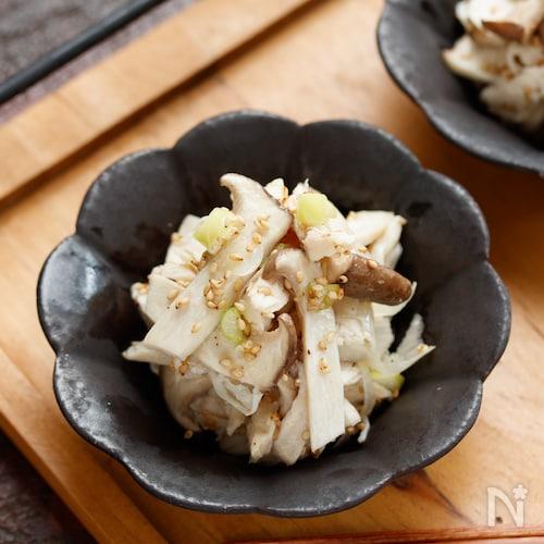 エリンギと蒸し鶏のネギ塩あえ【#作り置き#お弁当#レンジ】