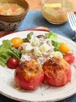 キヌアとチーズのトマトファルシ