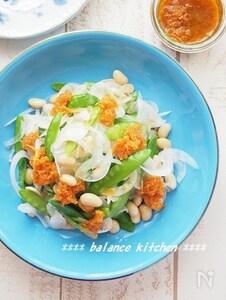 大豆入り 新玉ねぎと絹さやの栄養バランスサラダ