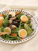 手軽に追加の1品。卵と鯖缶のニース風サラダ