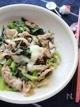 葉物野菜と豚肉のとろけるチーズ炒め(塩こんぶ入り)