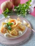 冷た〜く冷やして*桃のアールグレイマリネとチーズの冷製パスタ