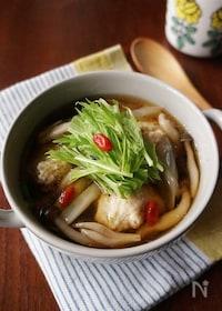 『身体ポカポカ♡鶏団子ときのこの中華スープ』