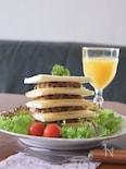 オールスパイスミートのサンドイッチタワー チーズバーガー風味