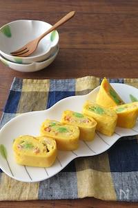お弁当に大人気♪枝豆とベーコン卵焼き