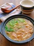 キャベツと鶏肉のピリ辛スタミナとろみ味噌鍋