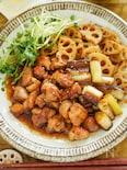 蓮根シャキシャキ♡一口もも肉と焦がしネギの甘辛生姜焼き
