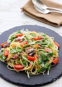 『水菜といわし缶の梅ドレッシングスパゲティ』
