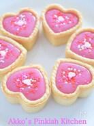 ピンクのハートのチョコレートタルト
