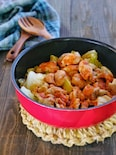 きゃべつと鶏肉のデミグラスソース風蒸し煮鍋【無水調理】