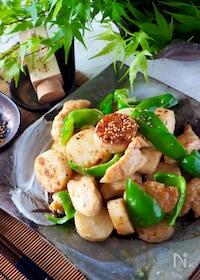 『【ピリ辛明太子味】鶏肉とサクサク長芋とピーマンのマヨポン炒め』