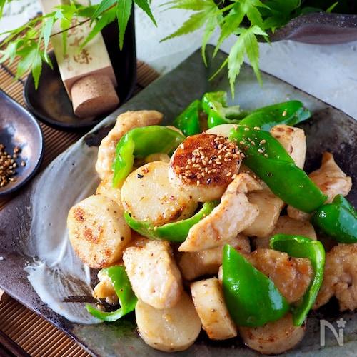 【ピリ辛明太子味】鶏肉とサクサク長芋とピーマンのマヨポン炒め