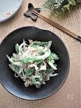 スナップエンドウと新玉ねぎのツナ胡麻マヨ和え