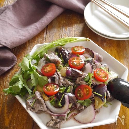 牛肉と茄子のタイ風ピリ辛サラダ