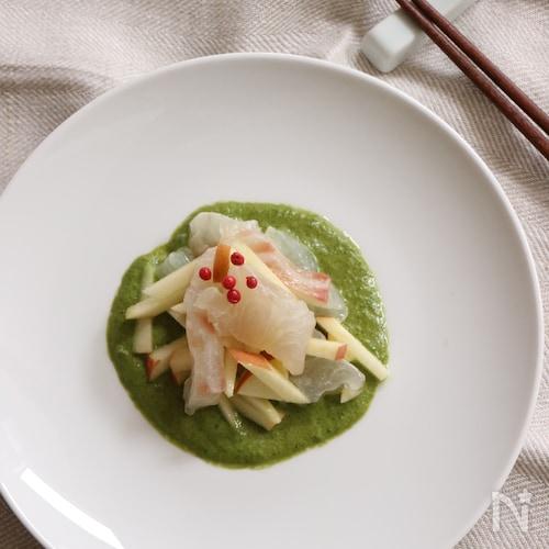 鯛とリンゴのバジルソース