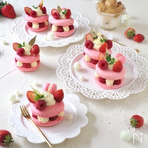 ダブルチーズクリームのフランボワーズマカロンケーキ
