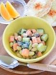 大豆・にんじん・きゅうりのガラムマサラヨーグルトサラダ