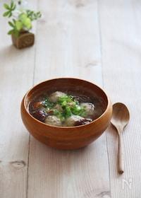 『生姜鶏団子とカブのみそれスープ。』