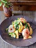 夏野菜と海老のごま和え