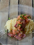 梅肉とトマトとスモークタンの冷製パスタ