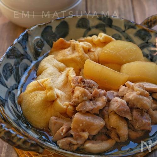 めんつゆで簡単!*卵巾着と鶏肉と大根の煮物*